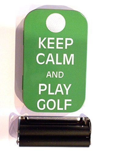 1oz hinged keep calm and play golf baccy tobacco tin rolling machine & papers  //Price: $ & FREE Shipping //     #Bathroom
