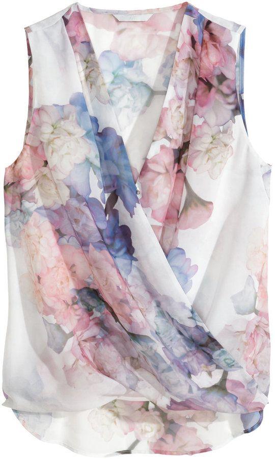 H&M floral draped blouse