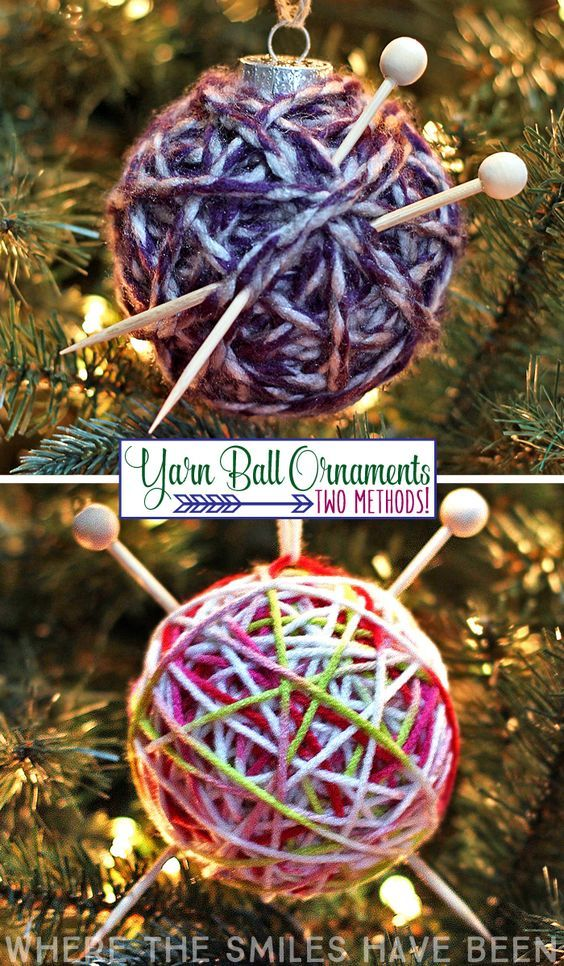 This would be perfect for any knitter (or crocheter)! An easy Christmas  gift idea too! How to Make a Yarn Ball Ornament: Two Methods! - How To Make A Yarn Ball Ornament: Two Different Tutorials! Cmas