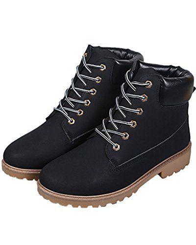 Minetom Bottines À Lacets Femme Hiver Bottines de Neige Randonnée en Plein air Plateforme Chaussures: Tweet Tige: PU cuir Matière semelle:…