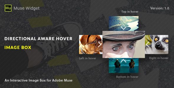 Directional Aware Hover Image Box - Adobe Muse Widget . A new Adobe Muse Widget that makes it easy to add a directional aware hover effect to your Adobe Muse project, simply drag and drop our