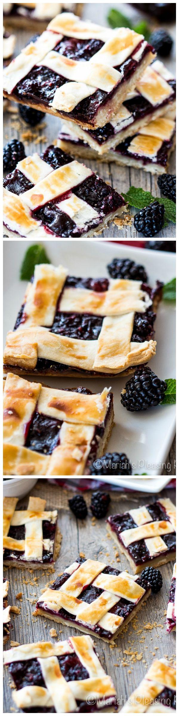 Blackberry Pie Bars by mariahspleasingplates via wholeyum #Pie_Bars #Blackberry