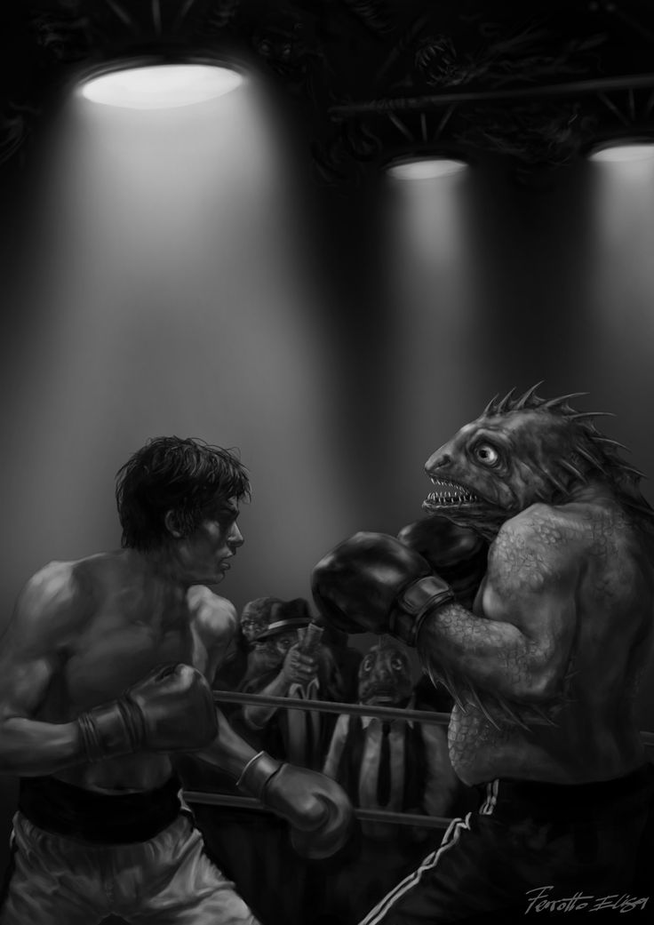 """By Elisa Ferrotto Illustration for rpg , role playing game """"Dawn of Cthulhu"""", boxing match Human vs Dagonian, Serpentarium Games 2015"""