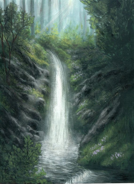 Waterfall painting a print of an original acrylic for Waterfall design etsy