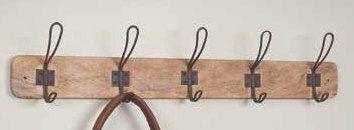 Vintage Twisted Wire Coat Hooks|Five Hook Coat Rack|Rustic Metal Hooks Coat Rack|Distressed Wood Coat Rack|Farmhouse