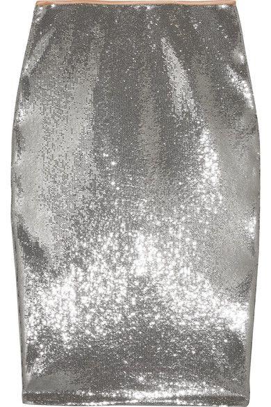 Diane von Furstenberg - Sequined Tulle Midi Skirt - Silver - US10