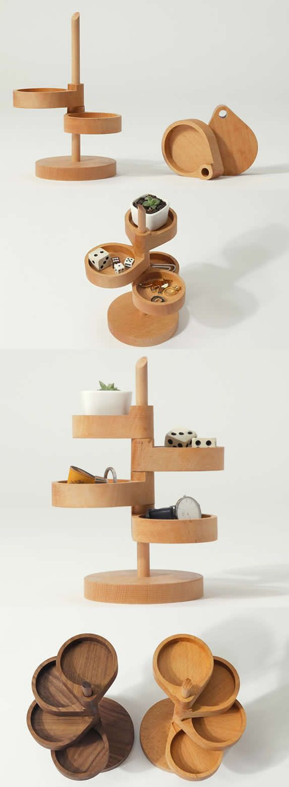 4 Tier Wooden Office Desk Organizer