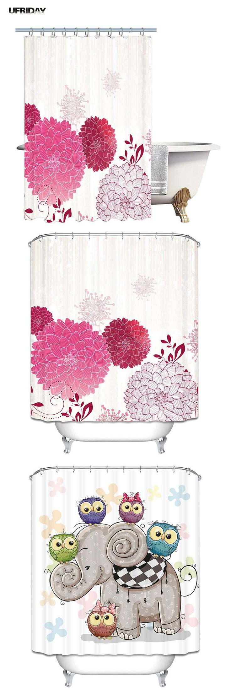 [Visit to Buy] UFRIDAY 3D Shower Curtain Flowers Tree Leaves Elephant Paint Waterproof Cortinas Floral Design 3D Shower Curtains Bath Curtains #Advertisement