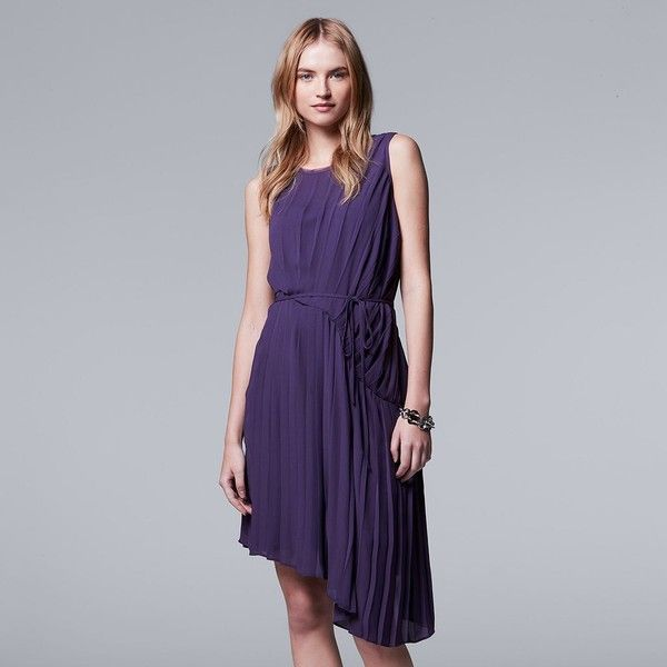 Petite Simply Vera Vera Wang Pleated Asymmetrical Shift Dress ($27) ❤ liked on Polyvore featuring dresses, petite, purple, petite dresses, overlay dress, purple dress, pleated chiffon dress and pleated dresses