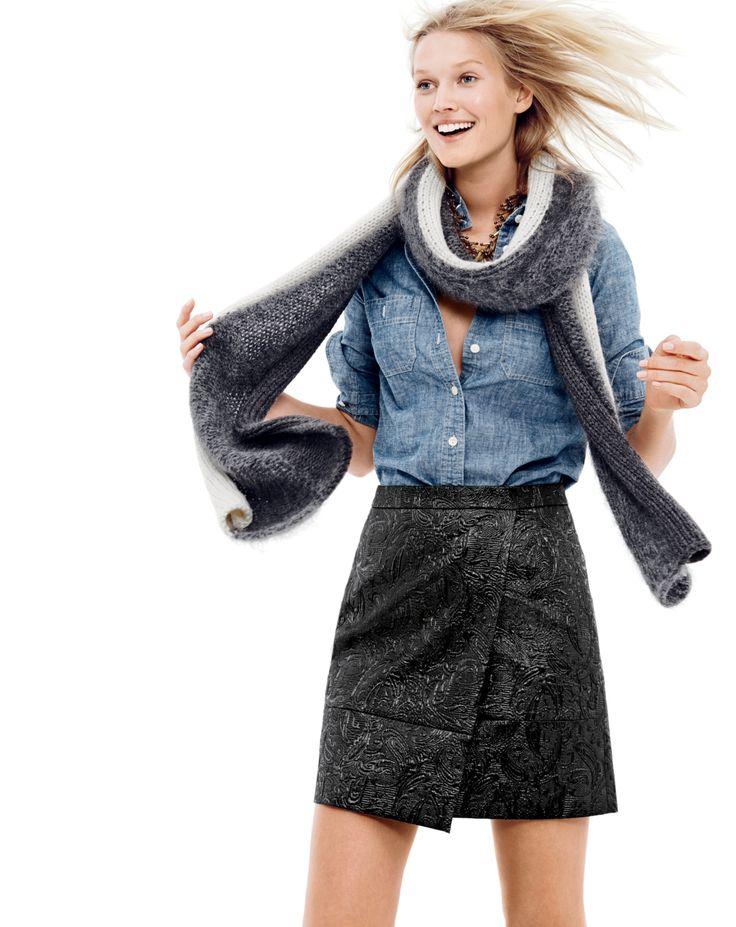 J.Crew women's selvedge chambray shirt, origami skirt in metallic matelassé, and marled stripe scarf.