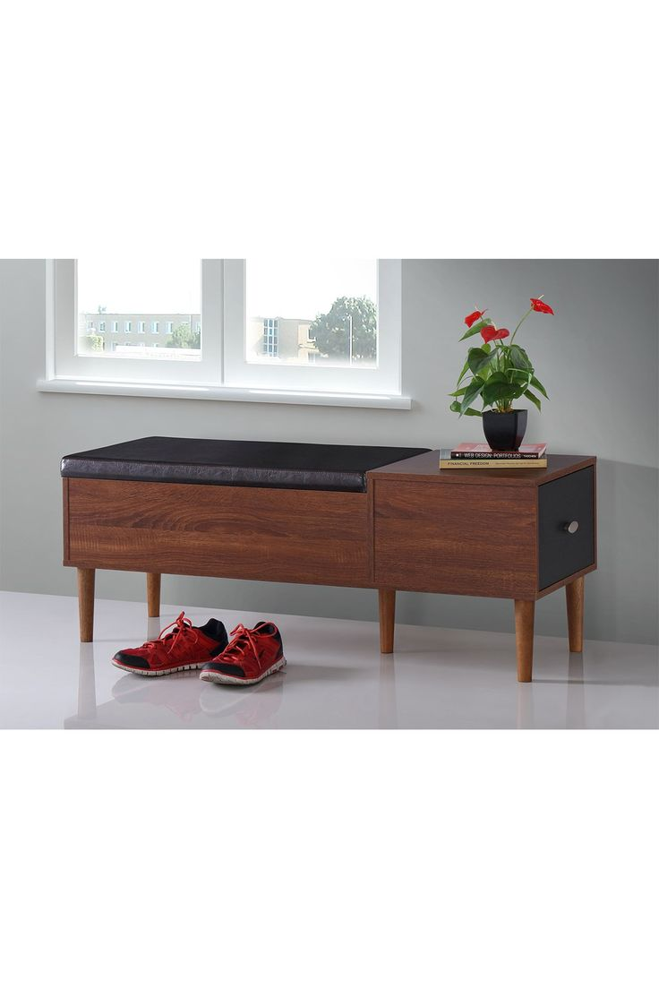 Merrick Mid-century Retro Modern 1-drawer 2-tone Oak and Dark Brown Wood Entryway Storage Cushioned Bench Shoe Rack Cabinet Organizer on @HauteLook