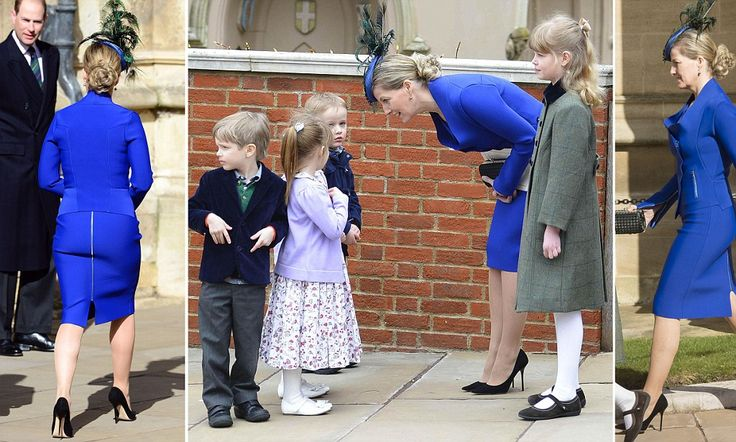 Sophie turns heads with her skin-tight skirt as she attends Easter service at Windsor... That £860 Easter bonnet helped, too!