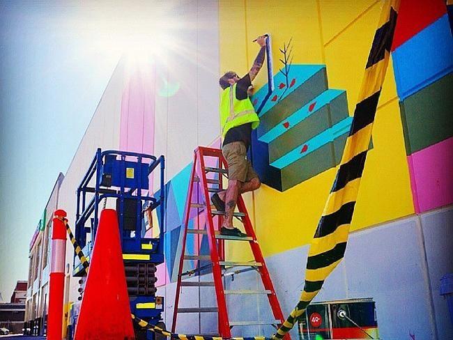 Brenton See's mural at Woolworths, Adelaide Street Plaza, Fremantle. #art #artist #artwork #paint #painting #mural #streetart #perth