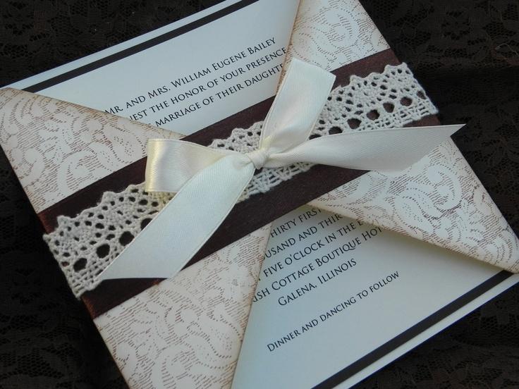 Tri Fold Wedding Invitations   Crocheted Lace Tri-Fold Wedding Invitation, 4 Piece Suite
