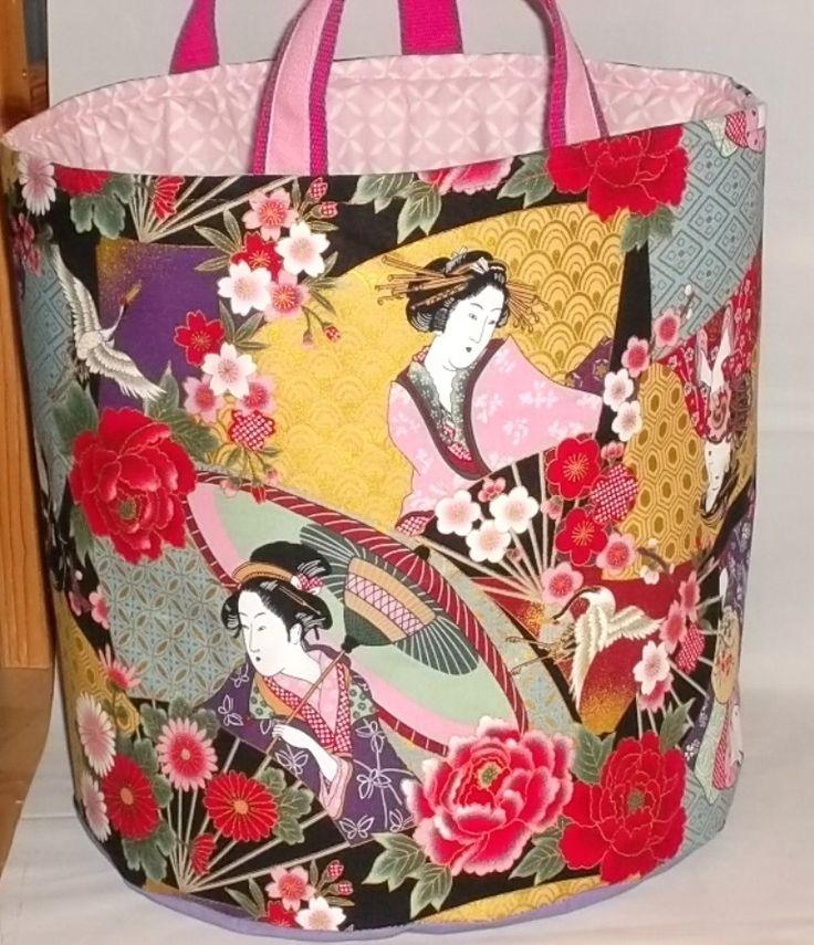 """BAC de rangement, grand SAC à linge, Panier de rangement en coton """"Femmes japonaises"""" : Chambre d'enfant, de bébé par paquita-14400"""