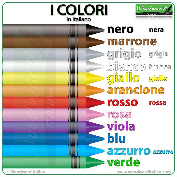 I colori in Italiano The main colors in Italianare: nero / nera– black marrone– brown grigio /grigia– gray / grey bianco /bianca– white giallo /giallo– yellow…