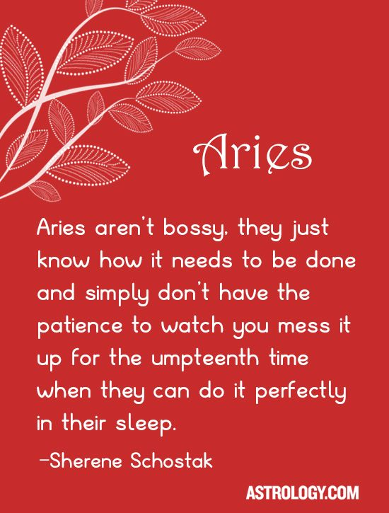 #Aries aren't bossy, they just know how it needs to be done and simply don't have the patience to watch you mess it up for the umpteenth time when they can do it perfectly in their sleep. -- Sherene Schostak   Astrology.com #horoscope #astrology