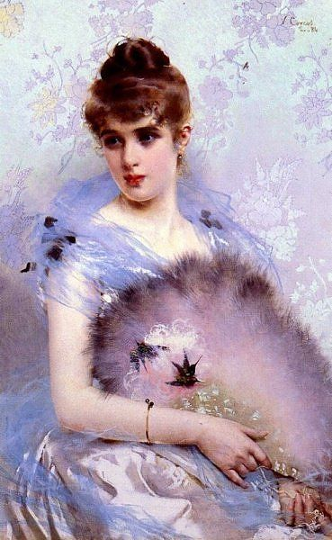 Vittorio Matteo Corcos   The Feather Fan, 1884.