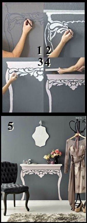 So creative! Any end table you'd like with just a paintbrush and a shelf!