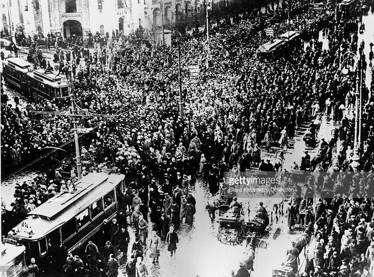 Crowds on Nevsky Prospekt during the February Revolution in Petrograd, which led to the Russian Revolution and the overthrow of the monarchy, March 1917.