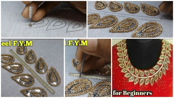 Simple kurti design for beginners using silver sequins and golden pearls