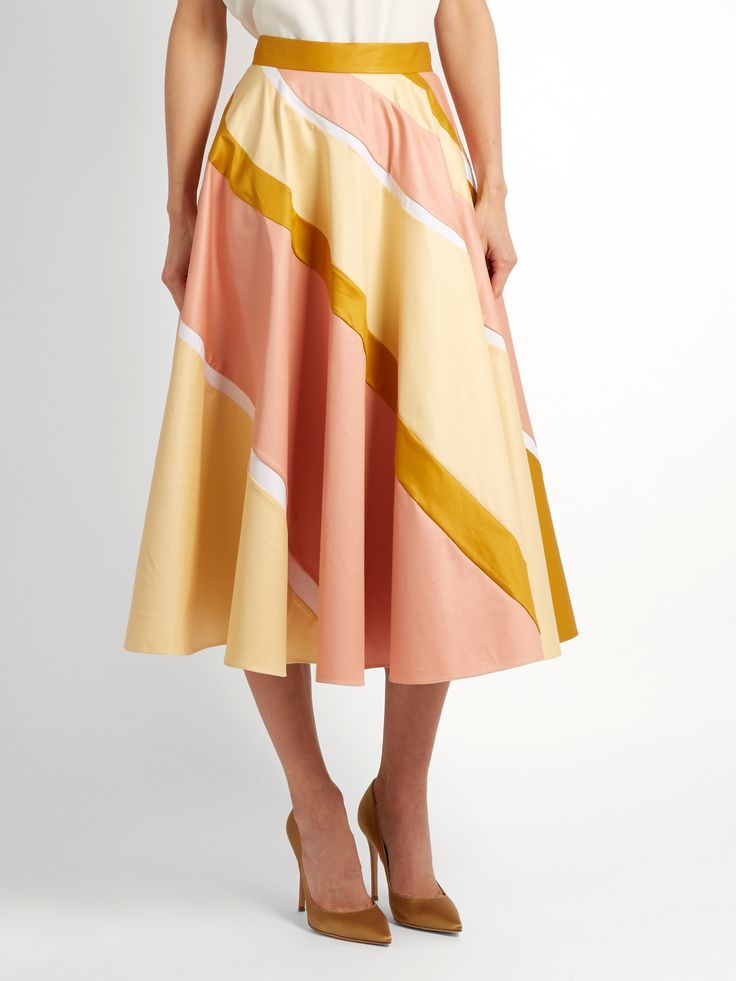 Click here to buy Roksanda Striped cotton-blend A-line skirt at MATCHESFASHION.COM