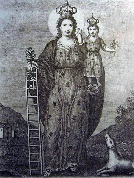 Madonna della Scala anonymous Our Lady of the Massafra that differentiates it is the next to have a scale and a doe the scale is associated with the spiritual elevation, the doe is the Christian symbol of the soul that craves God