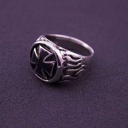 EKUSTYEE  Vintage Steel Titanium Crusade Cross Ring