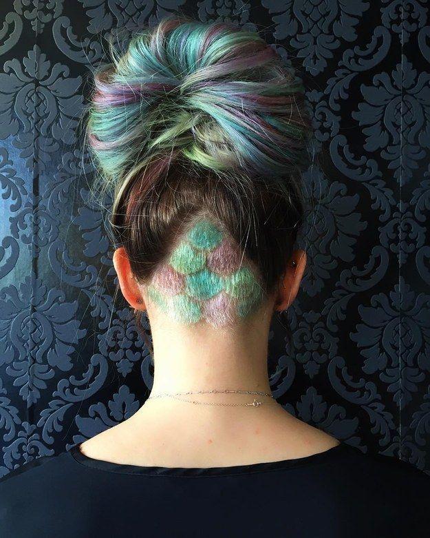 Diese verdeckte Meerjungfrau. | 16 farbenfrohe Undercuts, bei denen sich Deine Frisur langweilig anfühlt