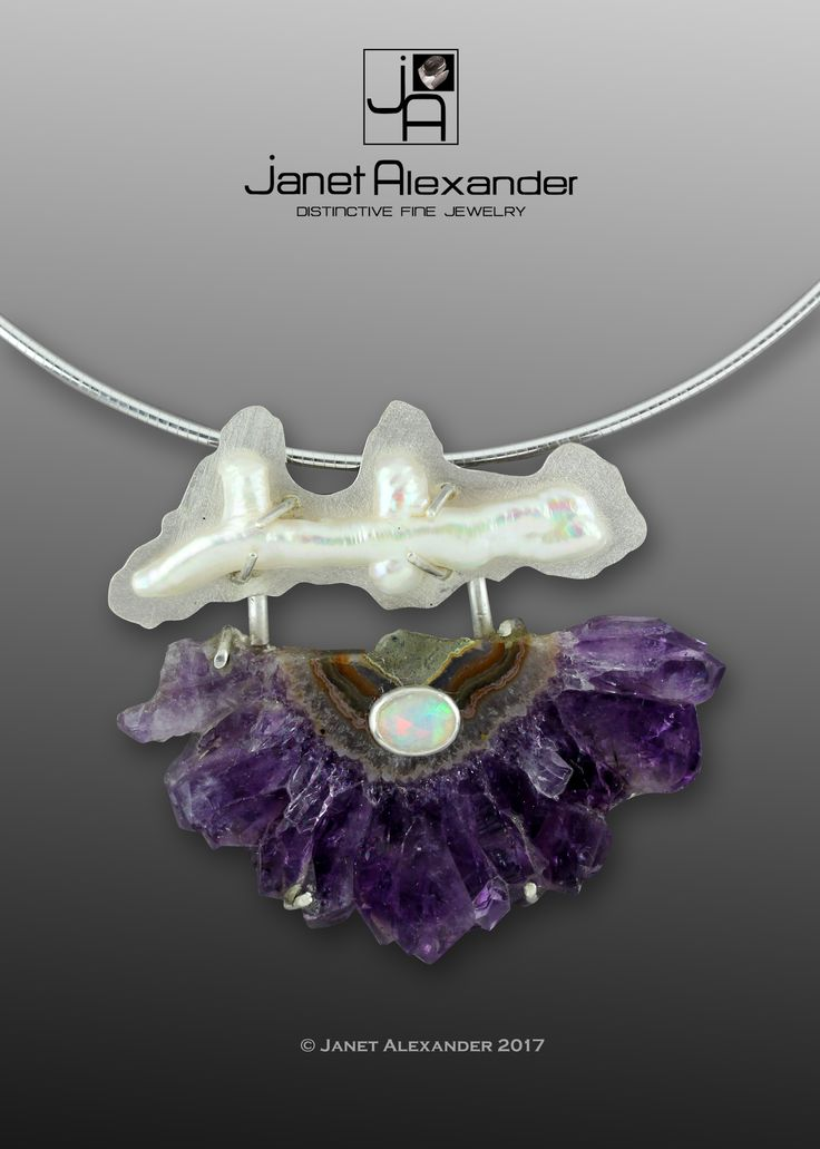 """Amethyst Crystal with an odd shaped pearl. On top of the Amethyst is a 10 x 6mm Opal. The Amethyst measures 2 1/4"""" wide x 1 1/2"""" tall. The pearl measures 1 3/4"""" long. Emotionally, amethyst is used in crystal healing to help heal personal losses and grief, bringing one gently past. Amethyst has a gently sedative energy that ca promote peacefulness, happiness, and contentment."""