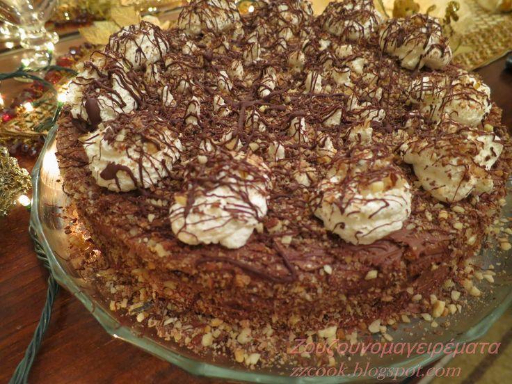 Ζουζουνομαγειρέματα: Χριστουγεννιάτικη τούρτα με τραγανή γκοφρέτα και σ...