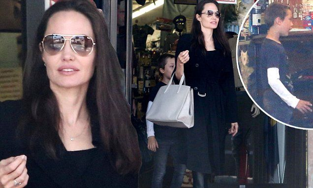Angelina Jolie brings son Knox to military supply store