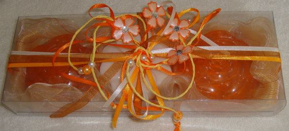 Orange White Floral Handmade Gift Set very nice decorated with 3 small Luxury Scented Soaps - two orange in melon scent, one white in raspberry scent.  A Unique gift for Graduation, a very elegant, stylish gift for any occasion: Mothers Day, Valentines Day, Anniversary, Feast, Engagement, Birthday, any Celebration, any Ceremony, Party… you name it!