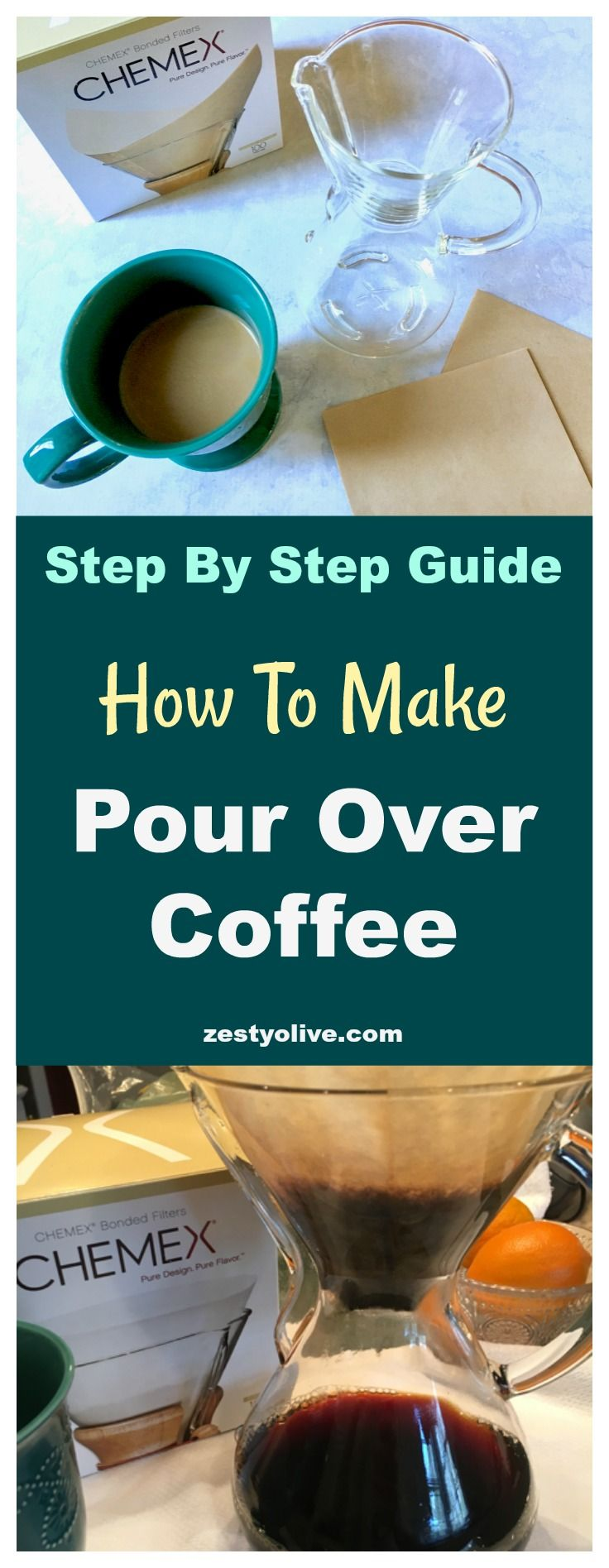How To Make Pour Over Coffee - A DIY Step By Step Guide Using the Chemex Coffee Carafe #coffee