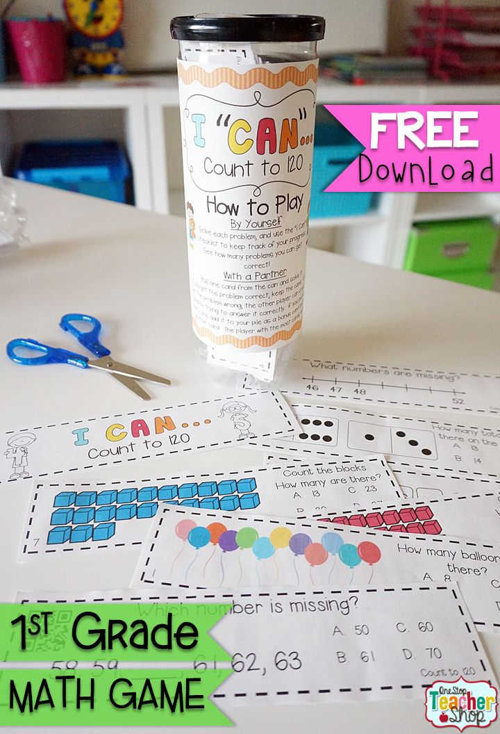 "FREE ""I CAN"" Math game covers all standards for COUNTING to 120 in 1st grade. Perfect for Guided Math & Math Centers! {Common Core} FREE"