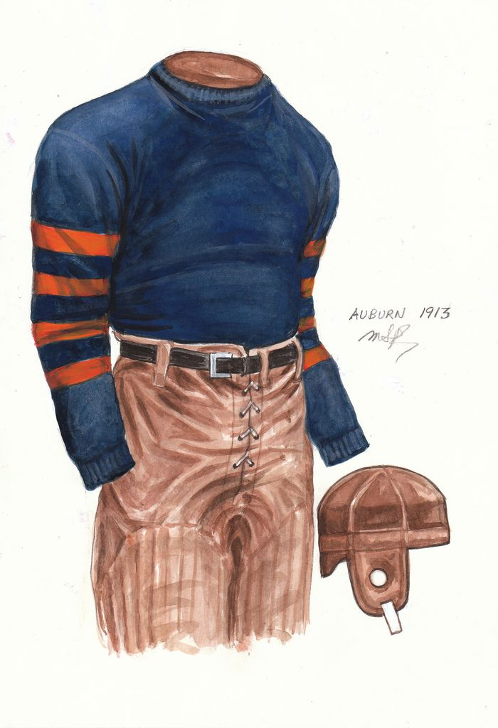 1913 - Blue woolen jersey with orange sleeve stripes and tan pants. No uniform number or lettering on front. Natural leather (brown) helmet ... The 1913 Tigers were undefeated as they went 8-0 and were crowned SIAA Champions. In the process they outscored their opponents 223-13. Team captain was QB Kirk Newell. The team was coached by Mike Donahue, who coached for 18 seasons from 1904-06 and 1908-22.