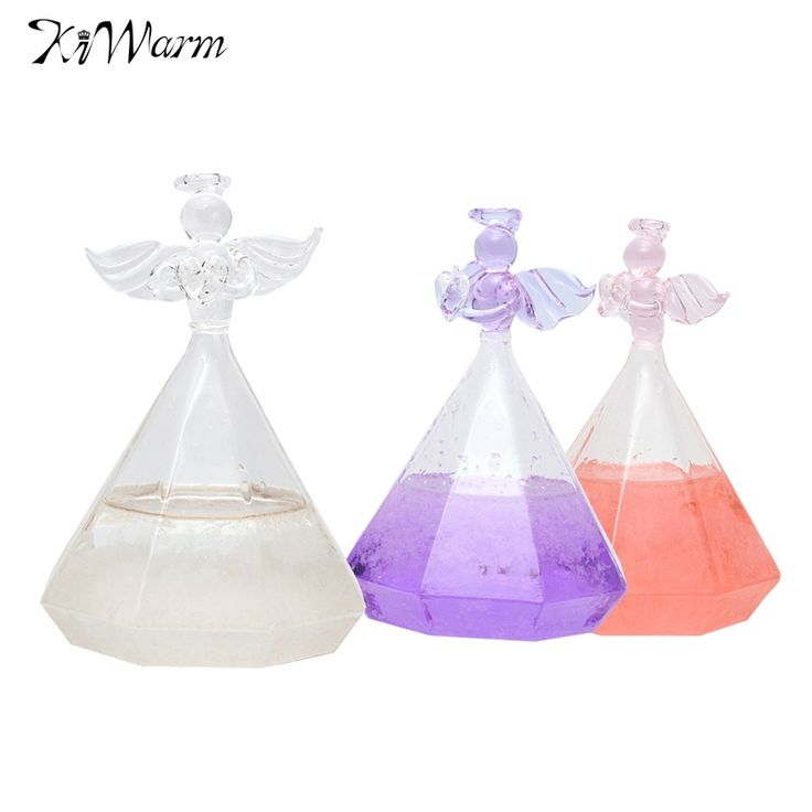Kiwarm Cute Angle Weather Forecast Crystal Rainstorm Glass Bottle Ornaments Crafts For Home Decoration Christmas Birthday Gift