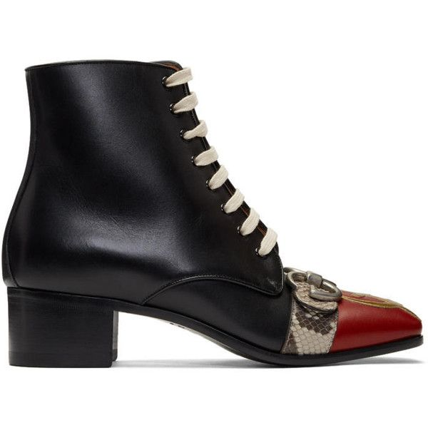 Gucci Black Novel Lace-Up Boots (25,995 MXN) ❤ liked on Polyvore featuring men's fashion, men's shoes, men's boots, black, mens black leather boots, mens black leather shoes, gucci mens boots, mens leather sole shoes and mens cap toe boots