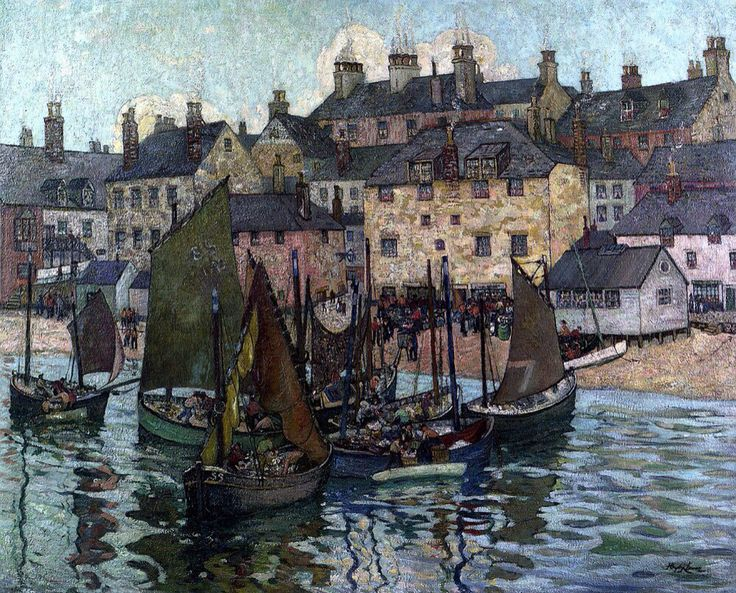 Richard Hayley Lever (American,1876-1958) - Landing Fish, St. Ives, Cornwall, England, c.1910