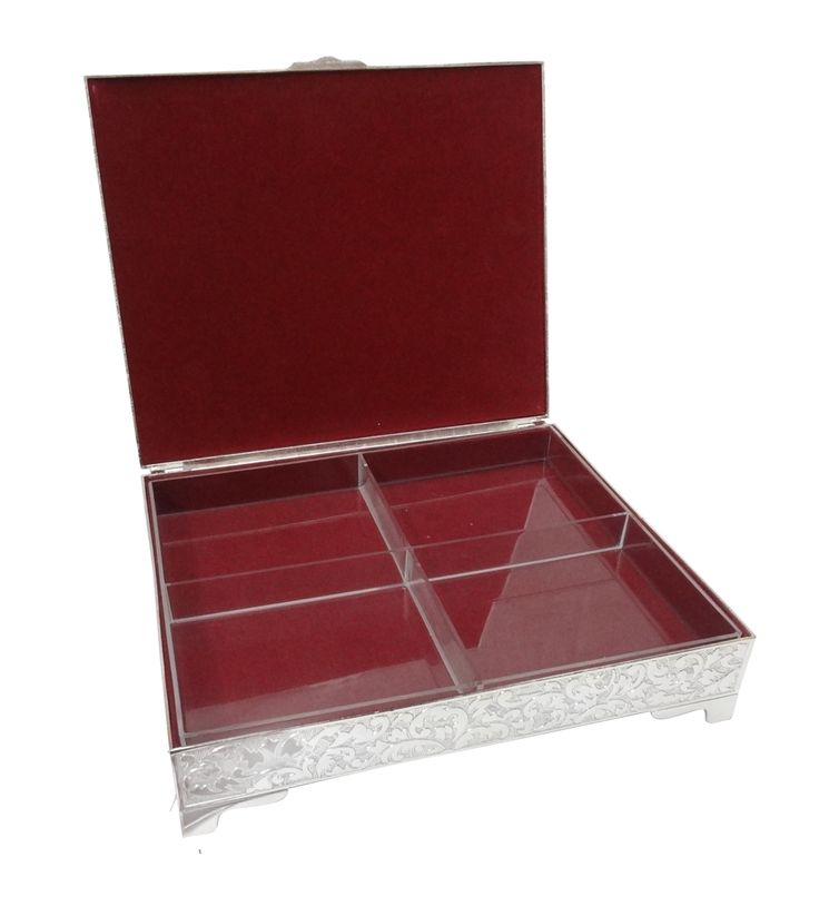Dry Fruit Box with 4-Partitions,Silver Plated,Online Gifts Shopping India