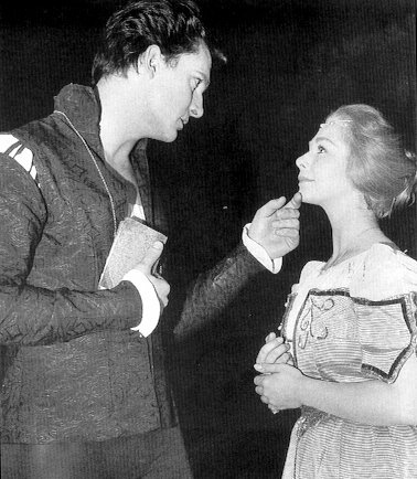 alwaysiambic: Jeremy Brett and Linda Gardner in Hamlet in 1961 (He looks like Andrew Scott from this angle. Guh!)