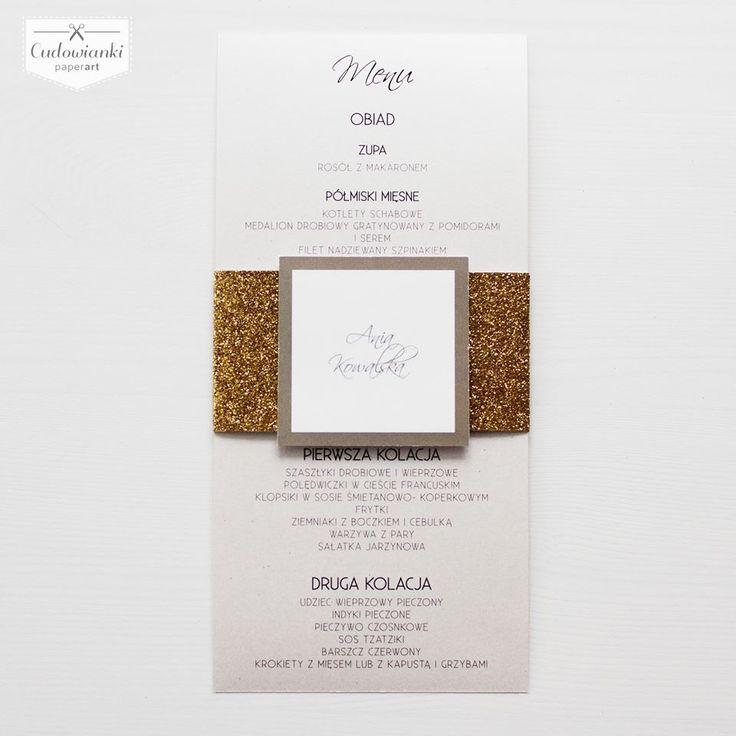 Glitter, gold wedding menu.   Eleganckie menu z brokatową złotą opaską. Cudo!