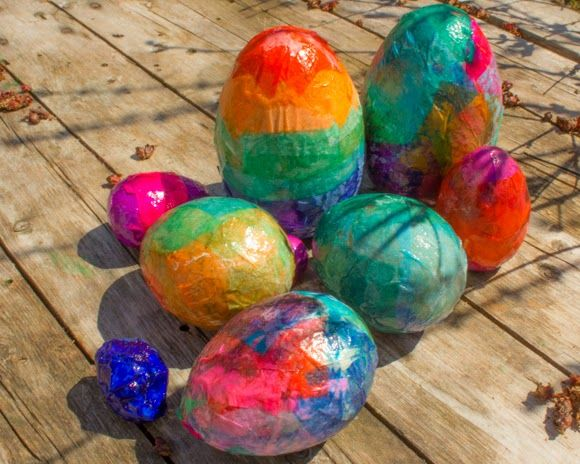 our tissue paper decoupaged wooden Easter eggs tutorial