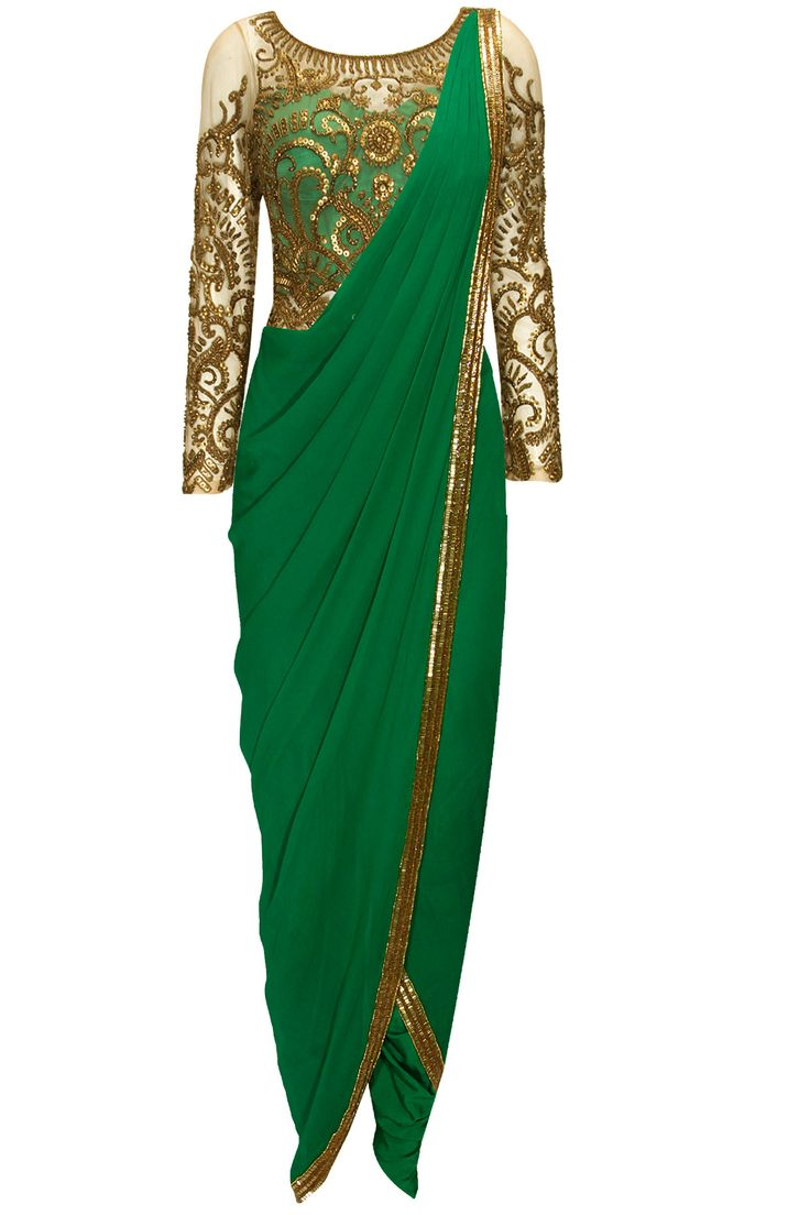 Emerald green antique gold and bead embroidered pant sari