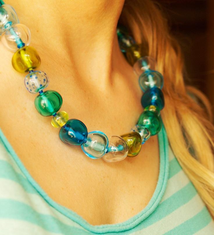 SEA lampwork sterling silver necklace. $200.00, via Etsy.