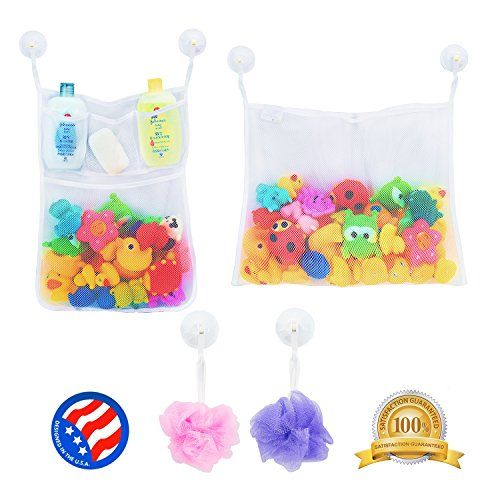 2 x Mesh Bath Toy Organizer  6 Ultra Strong Hooks - The Perfect Net for Bathtub Toys & Bathroom Storage - These Multi-Use Organizer Bags Make Bath Toy Storage Easy - For Kids Toddlers & Adults
