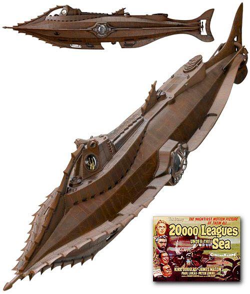 Réplica do Submarino Nautilus de 20.000 Léguas Submarinas. O modelo mede 22cm x 92cm x 36cm | #nautilus