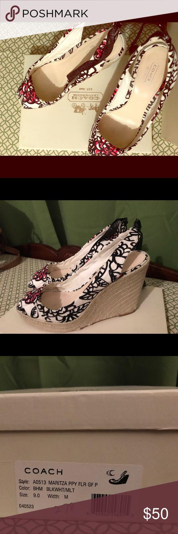 Coach size 9 poppy floral wedge Coach size 9 poppy floral wedge Coach Shoes Wedges