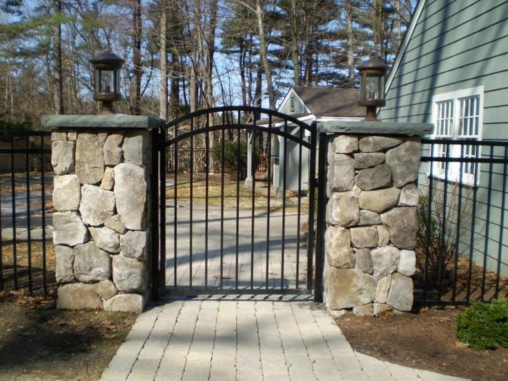 Image result for midcentury ranch classic wrought iron garden gates, cmu block wall, landscaping