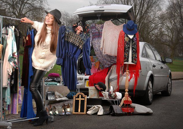 Driving a bargain: Ana Thorsdottir can pocket up to £150 when she clears out her wardrobe and sells unwanted old clothes at local car boot sales